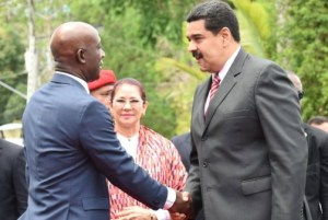 T&T Prime Minister Dr Keith Rowley (left) greets Venezuela President Nicolas Maduro.