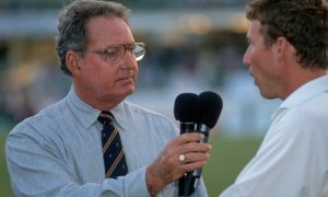 Tony Cozier interviewing former England captain Michael Atherton.