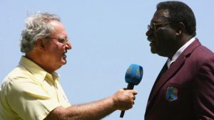 Tony Cozier interviewing former West Indies captain and current chief selector Clive Lloyd.