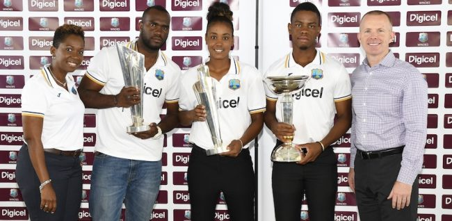 West Indies world champions Ashley Nurse, Hayley Matthews and Shimron Hetmyer with Nelecia Yeates, commercial manager of the WICB (left) and Connor Looney, CEO of Digicel Barbados (right).