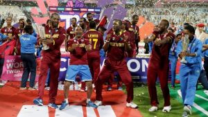 World champions West Indies ranked number three in Twenty20s.