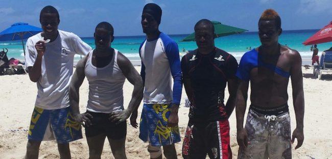 (Left to right) Dario Waithe, Jabario Brathwaite, Kobe Bowen, Jerome Hoyte and Shackeem Mascoll.