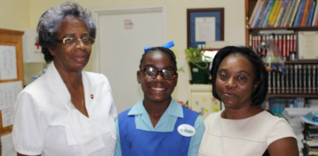 From left, Principal of Bay Primary Marielon Gamble, early sitter Miyanda Clarke and class teacher Elma Trotman.