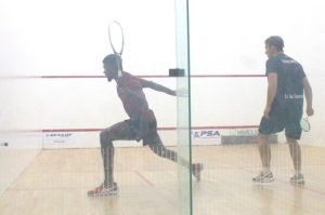 Barbados' number one Shawn Simpson played a tough match against Antonio De La Torre of Guatemala in his first outing at the  Barbados Men's Squash Open. (Pictures by Morissa Lindsay)