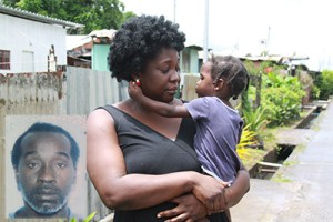 Bernadine Edwards with her son, Messiah. Edwards' brother-in-law, Junior Greenidge (inset), was shot and killed by two gunmen.