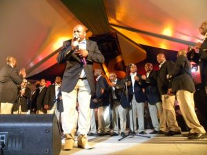Canadian group Rivival Time Tabernacle Men's Choir rocked with Caribbean rhythms.
