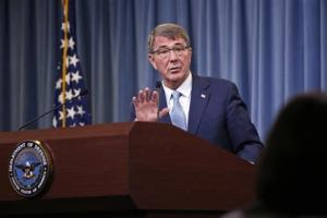 Defence Secretary Ash Carter speaks during a news conference at the Pentagon, Thursday.