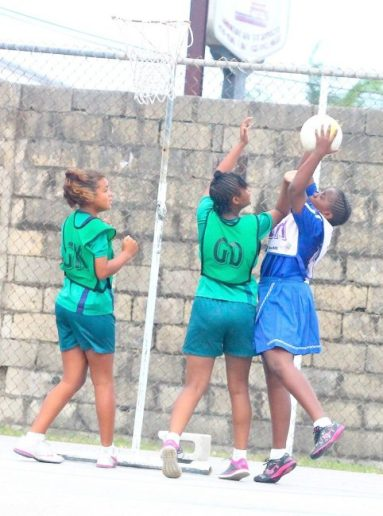 Dominique Blenman's persistence as goal-attack for George Lamming paid off when she got the better of St Winifred's goal-defence Jenascia King during this play.