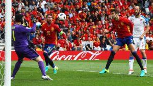 Gerard Pique heads Spain's winner past Czech Republic goalkeeper Petr Cech.
