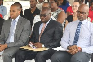 Scotia Bank Caribbean East managing director David Noel, Shadow Minister of Health Dwight Sutherland and Acting Chief Medical Officer Dr Anton Best.