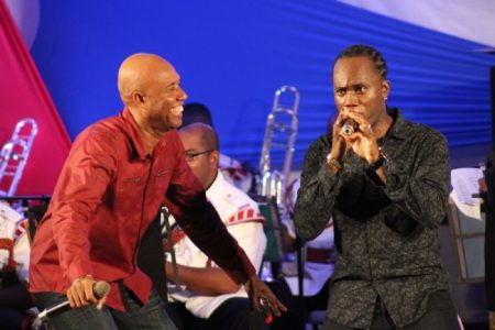 RPB (left) in awe of Adrian Clarke as he chants freestyle during their performance of Ragga Ragga.