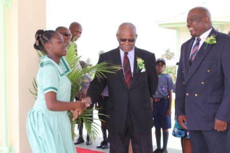 Sir Elliott Belgrave  was elated to visit  the St Bernard's Primary School.