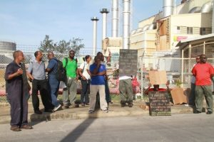 Workers turned up at the plant early this morning with placards.
