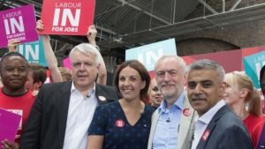 "Jeremy Corbyn and Labour's leaders in Scotland, Wales and London united to make the ""positive"" case for EU membership."