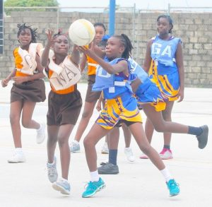 Lawrence T Gay's wing-attack Rajada Prescod- Edwards (left) clashes with Hindsbury Primary's wing-defence Alisha Wickham for ball possession.