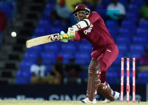 Man-of-the-Match Marlon Samuels hitting out for another boundary.