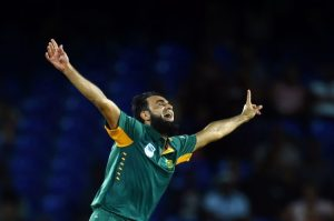 Man-of-the-Match Imran Tahir is elated after capturing his seventh wicket.