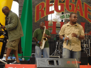 Michael Holford and the band KDB performing at Reggae On The Hill.