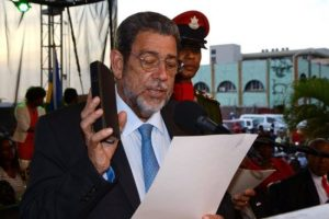 Prime Minister Ralph Gonsalves at his swearing in.