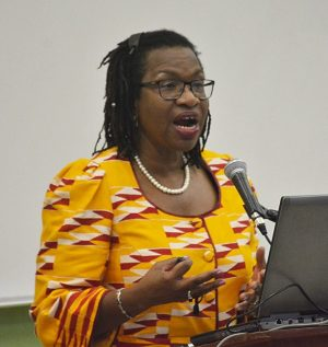 Dr Alafia Samuels delivering the good and bad news about Barbados' NCD fight.