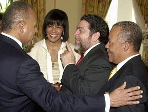 Patrick Manning (left), the then prime minister of Trinidad and Tobago, in company with his CARICOM counterparts (from left)  Portia Simpson-Miller of Jamaica, Ralph Gonsalves of St Vincent and the Grenadines and Owen Arthur of Barbados.