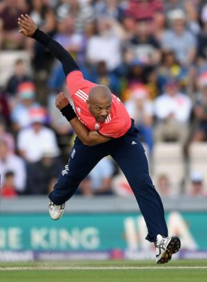 England's new T20 tearaway Tymal Mills reached speeds of 93mph on his international debut.