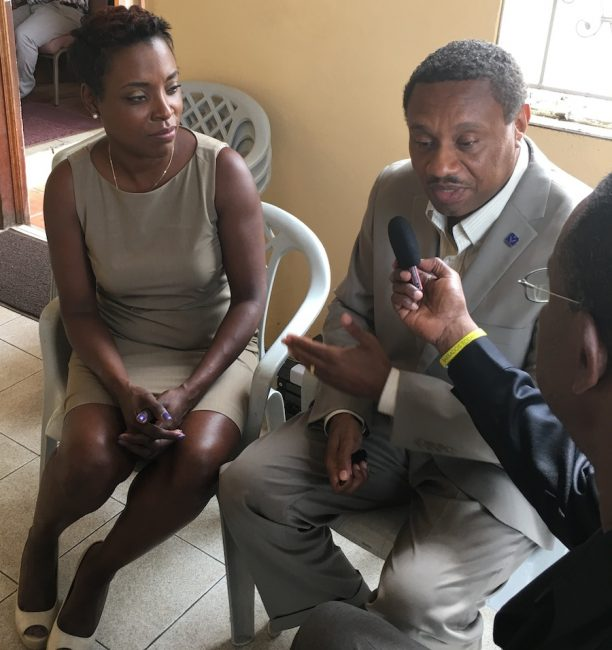 Pastor Anthony Quintyne and his wife Susan speaking to Barbados TODAY's Neville Clarke.