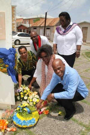 From left: Pan Africanist David Comissiong and Opposition Barbados Labour Party members Trevor Prescod, Mia Mottley, Pat Parris and Edmund Hinkson at Golden Square, The City.