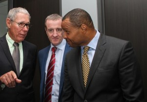 Regus franchise holder Ralph 'Bizzy' Williams (left), Managing Director of Regus (Barbados) Mark Linehan (centre) and Minister of Finance and Economic Affairs Chris Sinckler in conversation at yesterday's opening.