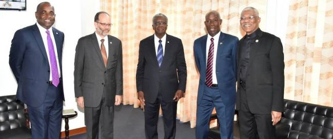 From Left: CARICOM Chairman, Dominica's Prime Minister Roosevelt Skerrit, CARICOM Secretary General Ambassador Irwin LaRocque, Prime Minister of Barbados Freundel Stuart,  Prime Minister of Trinidad and Tobago Dr Keith Rowley and President  of Guyana David Granger.