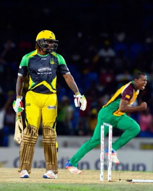 Chris Barnwell (right) celebrates after uprooting Chris Gayle's stump last night.