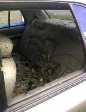 The inside of the cab where Driver's bomb was detonated.