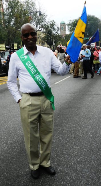 Barbados'  Ambassador to the United Nations Tony Marshall awaiting the start of the parade.