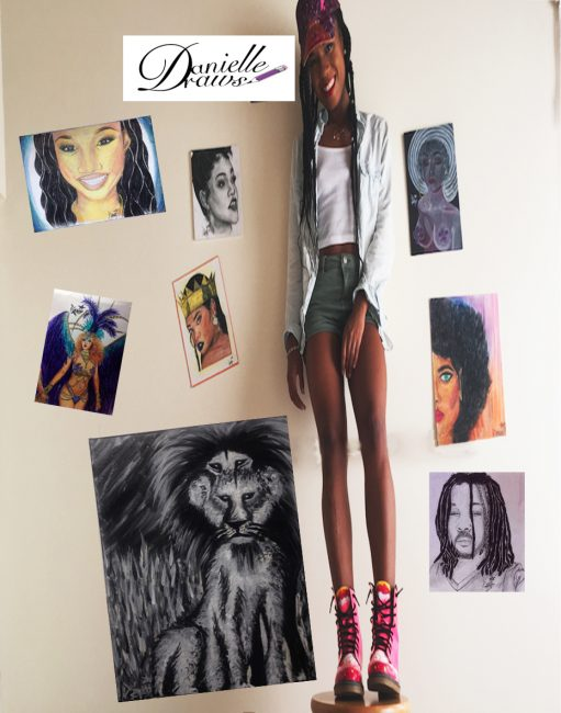 Danielle standing with some of her other portraits.