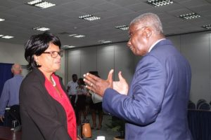 General Secretary of the NUPW Roslyn Smith (left) in discussion with Prime Minister Freundel Stuart.