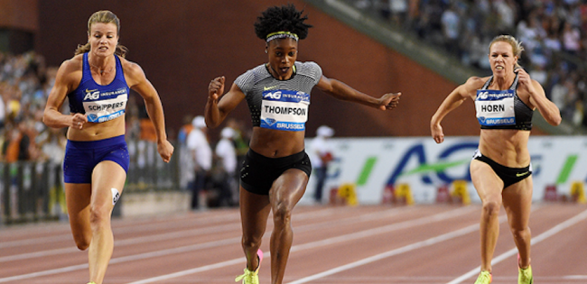 Jamaica's Elaine Thompson (centre) storming to victory today.