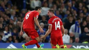 Jordan Henderson (right) celebrating his fabulous goal that gave Liverpool an initial 2-0 lead.