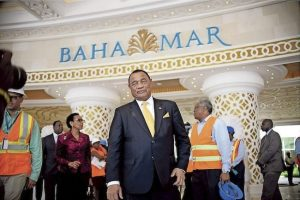 Prime Minister Perry Christie pictured during Monday's tour of the Baha Mar property.