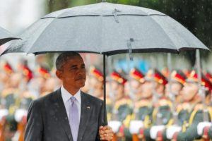 US President Barack Obama reviews honour guard during a welcoming ceremony at the Presidential Palace in Vientiane, Laos, on Tuesday.