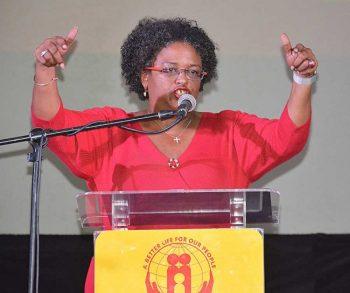 An assertive BLP leader Mia Mottley addressing party faithful.