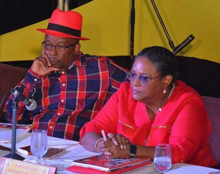 BLP chairman George Payne and political leader Mia Mottley.