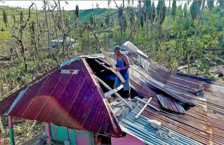 Marie-Lucienne Duvert's husband, Jean-Exsene Felix repairs the roof on their small home, in Morne La Source, Haiti.- . Photo Credit - Patrick Farrell – Miami Herald