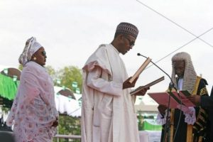 Muhammadu Buhari and his wife Aisha at his 2015 swearing in.