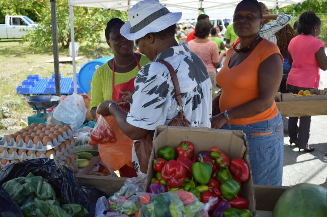 Women purchasing local produce.