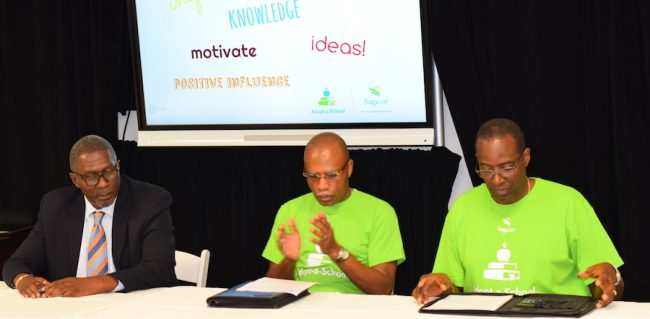 From left: Senator Harcourt Husbands; volunteer with Sagicor's Adopt-A-School programme Robin Taylor; and vice president of sales at Sagicor Life, Gay Griffith.