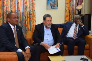 Prime Minister Freundel Stuart (right) seated here with Chairman of the shareholder governments of LIAT Dr Ralph Gonsalves (centre) and Minister of Tourism Richard Sealy following today's meeting.