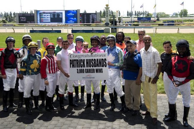 Husbands celebrates his 3000th career win. (Photo courtesy Woodbine)
