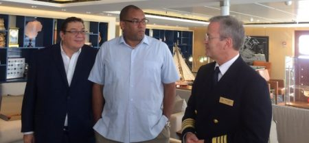 (From left) Chairman of Barbados Port Inc. David Harding, Minister of Tourism Richard Sealy and Captain of the Viking Star Rune Lokling.