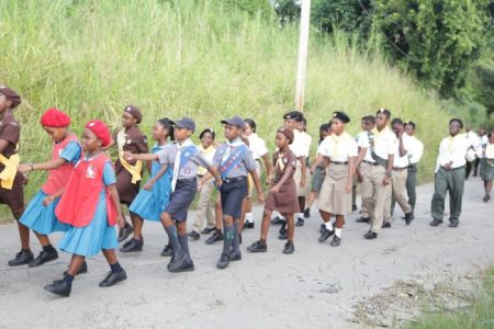 The Blossoms, Brownies and Cub Scouts of St Joseph Primaryas well as Pathfinders on parade.