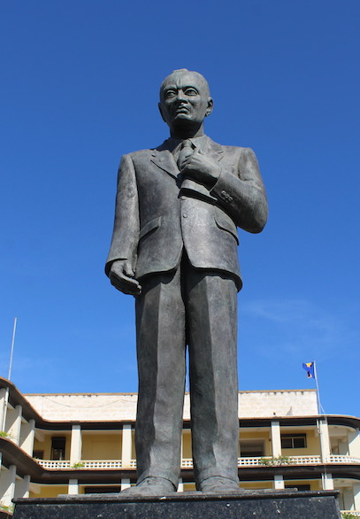 The statue of Sir Grantley Adams outside Government headquarters on Bay Street.
